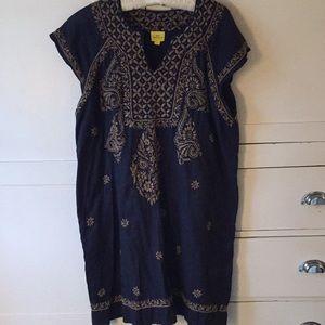 Roberta Roller Rabbit navy dress w embroidery L